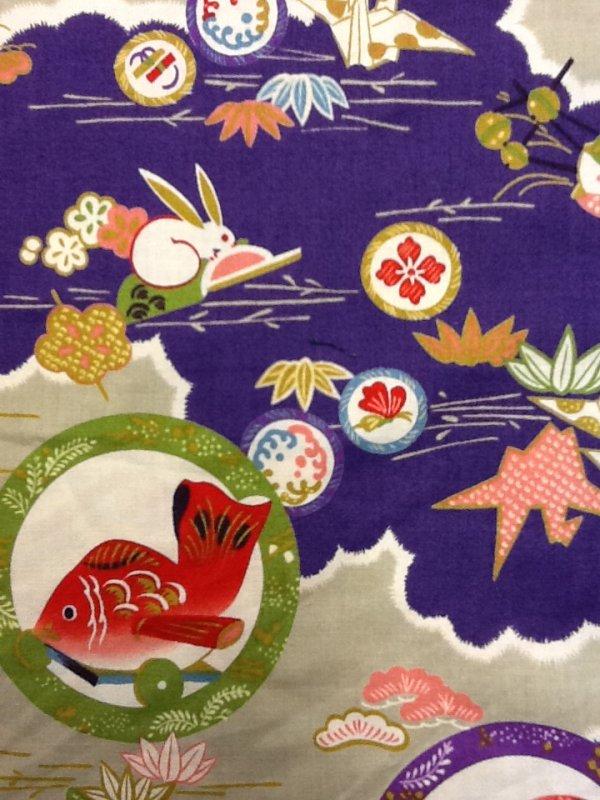 FAT QUARTER! Echino Kokka Japan Origami Cranes Bunnies Koi Fish Cute Kawaii Cotton Quilt Fabric  RPFCS242