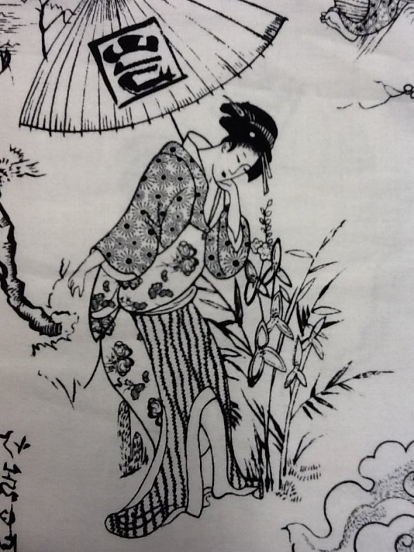 Japanese Calligraphic Characters with Traditional Japanese Women in Kimonos Asia Japan Black and White Cotton Quilting Fabric CS243
