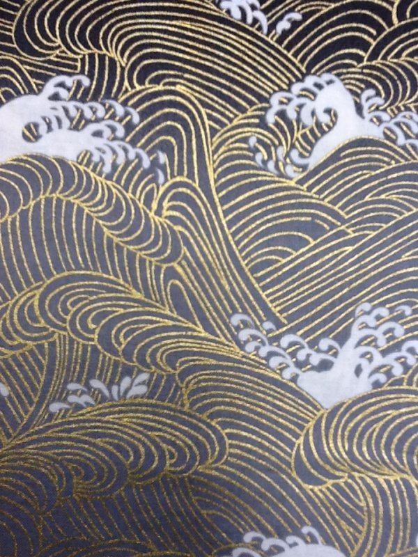 Tsunami Japanese Style Waves in Grey with Gold Accents and White Crests Asian Japan Cotton Quilting Fabric CS246