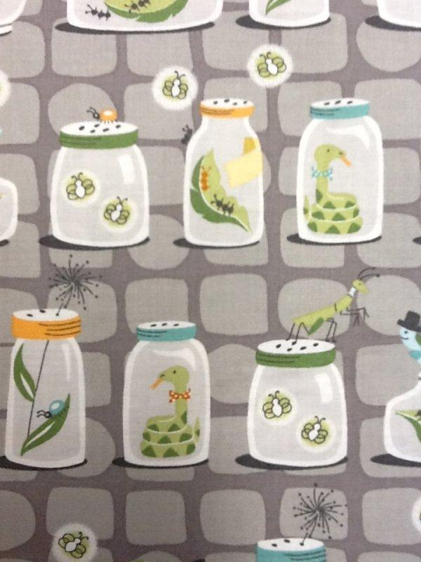 Bug Collector Mason jars Snails Caterpillar Snakes Animals Cute Grey Cotton Quilting Fabric CS261