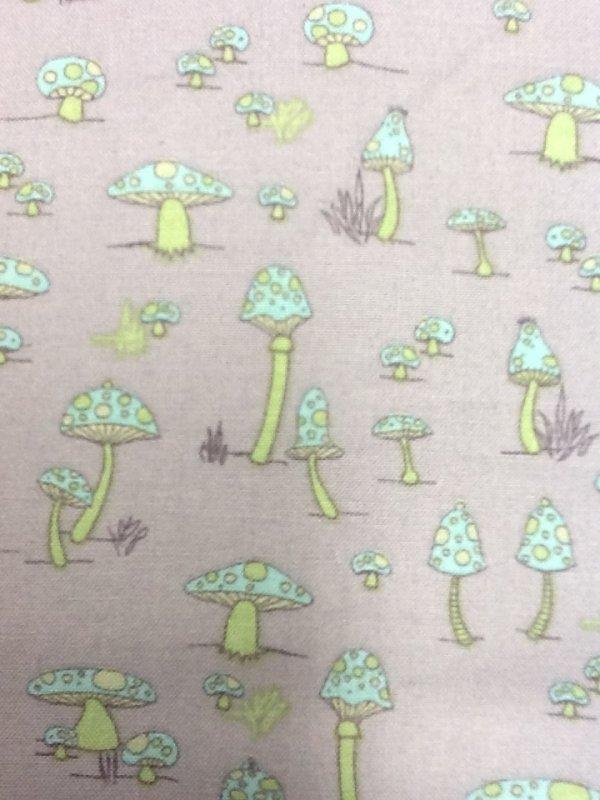 Mushrooms Retro Toad Stool Mini Kitschy Cartoon Blue Green Purple Cotton Quilting Fabric CS263