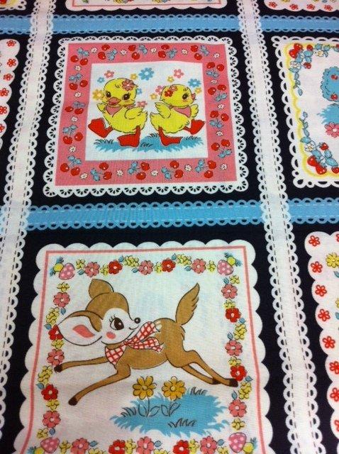 Echino Kokka Japanese Kawaii Retro 5'' Square Cute Animal Duck Deer Vintage Cotton Quilting Fabric PANEL CS269