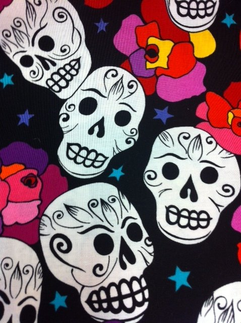 Day Of The Dead Dia De Los Muertos Happy Sugar Skulls and Mod Roses and Stars Cotton Fabric Quilting Fabric CS281