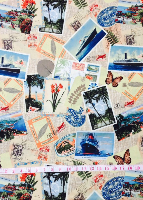 Travel Postcards World Post Marks World Travel Collections Cotton Fabric Cotton Quilting CS292