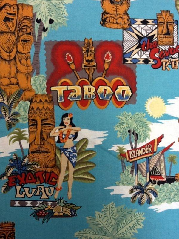 Tiki Island Statues Hawaii Caribbean Alexander Henry Cotton Fabric Quilting Fabric CS296