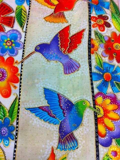 Laurel Burch Butterflies Stripes Hummingbirds Birds Nature Animals Cotton Fabric Quilting Fabric CS301