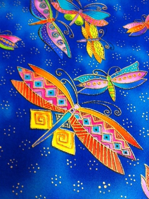 Laurel Burch Butterfly Dragonfly Insects Metallic Cotton Fabric Quilting Fabric CS303