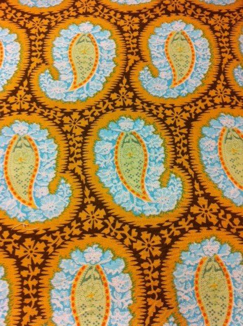 Amy Butler Henna Paisley Bright Vibrant Yellow Blue Cotton Fabric Quilting Fabric CS305