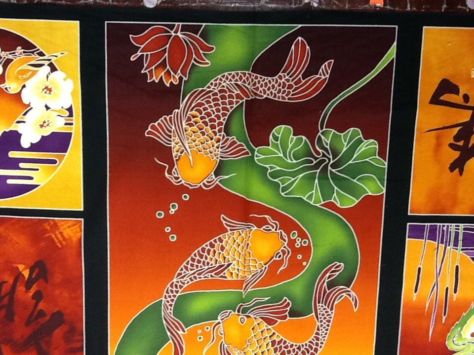 Japanese Calligraphy Characters Asian Panel Koi Fish Crane Butterfly Lily Pad's Cotton Fabric Quilting Fabric CS310
