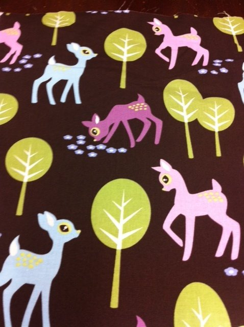 Michael Miller Out of Print! Deer Retro Kitschy Oh Deer! Flowers Forest Cute Animal Friends Cotton Fabric Quilting Fabric CS329