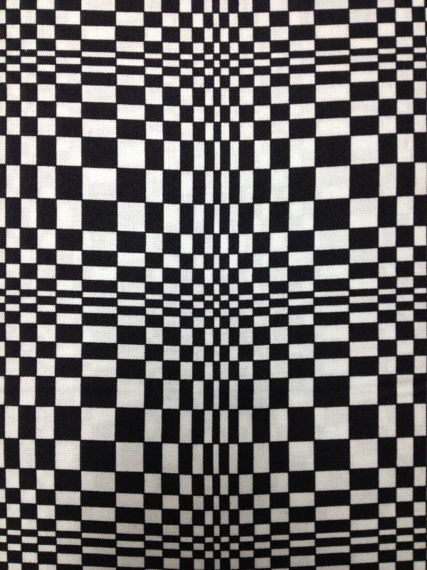 Vasarely Op Art Mod Pop Black and White Optic Illusion Magic Eye Cotton Fabric Quilting Fabric CS332