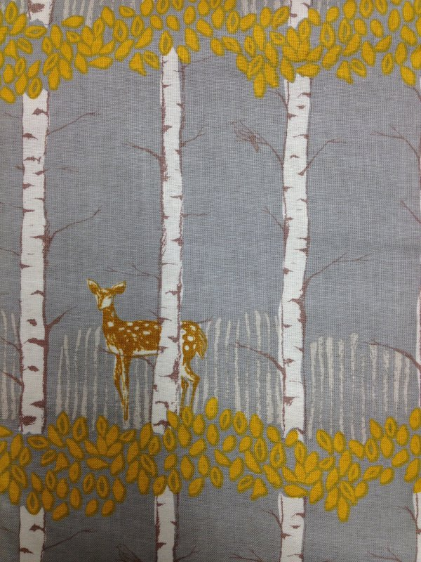 Deer Fawn Birch trees Mustard  Leaves Nature Cotton Fabric Quilt Fabric CS343