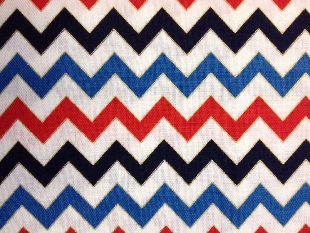 CS452 Red White Blue Chevron Modern Zig Zag Funky Cotton Fabric Quilt Fabric