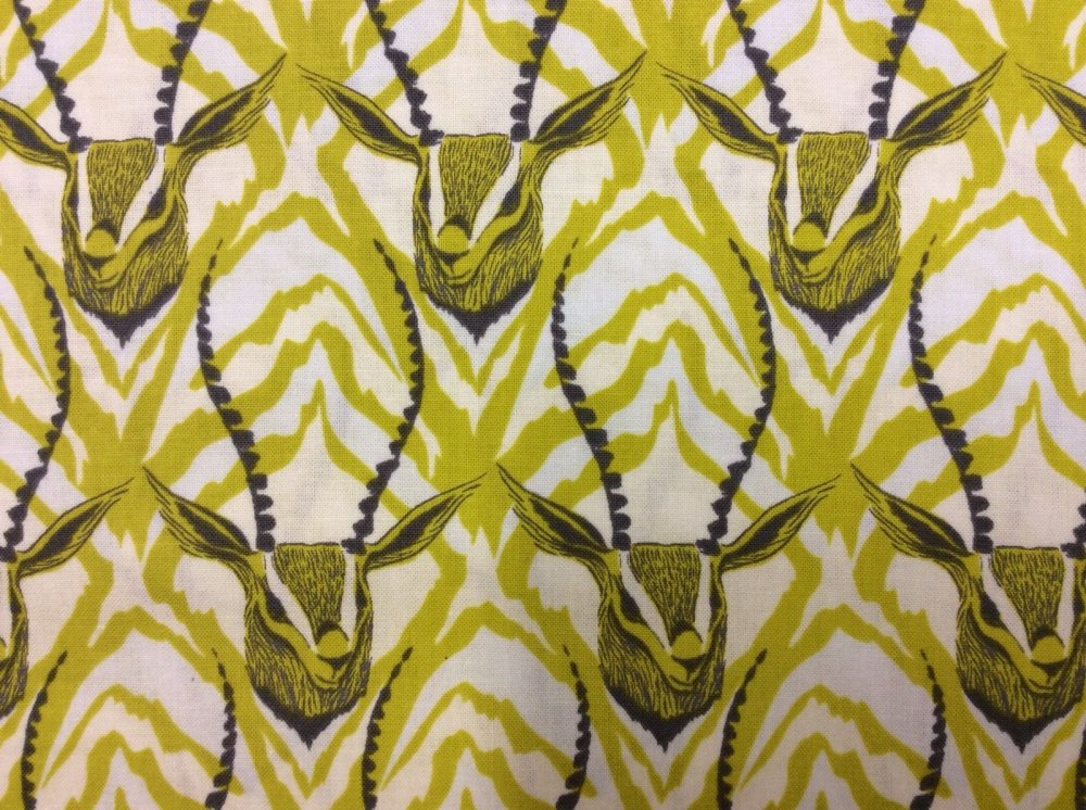 Cotton + Steel Antelope Yellow Zebra Stripes Antlers Majestic Cotton Fabric Quilt Fabric CTN03