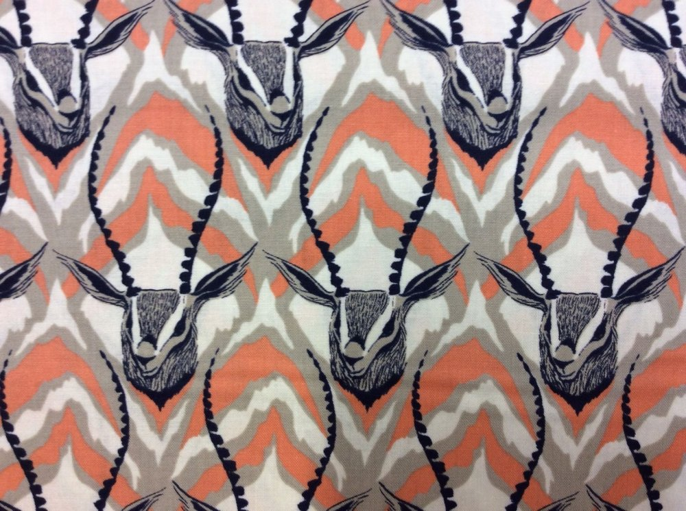 COTTON + STEEL Antelope Antlers Zebra Stripes Majestic Wild Cotton Fabric Quilt Fabric CTN05