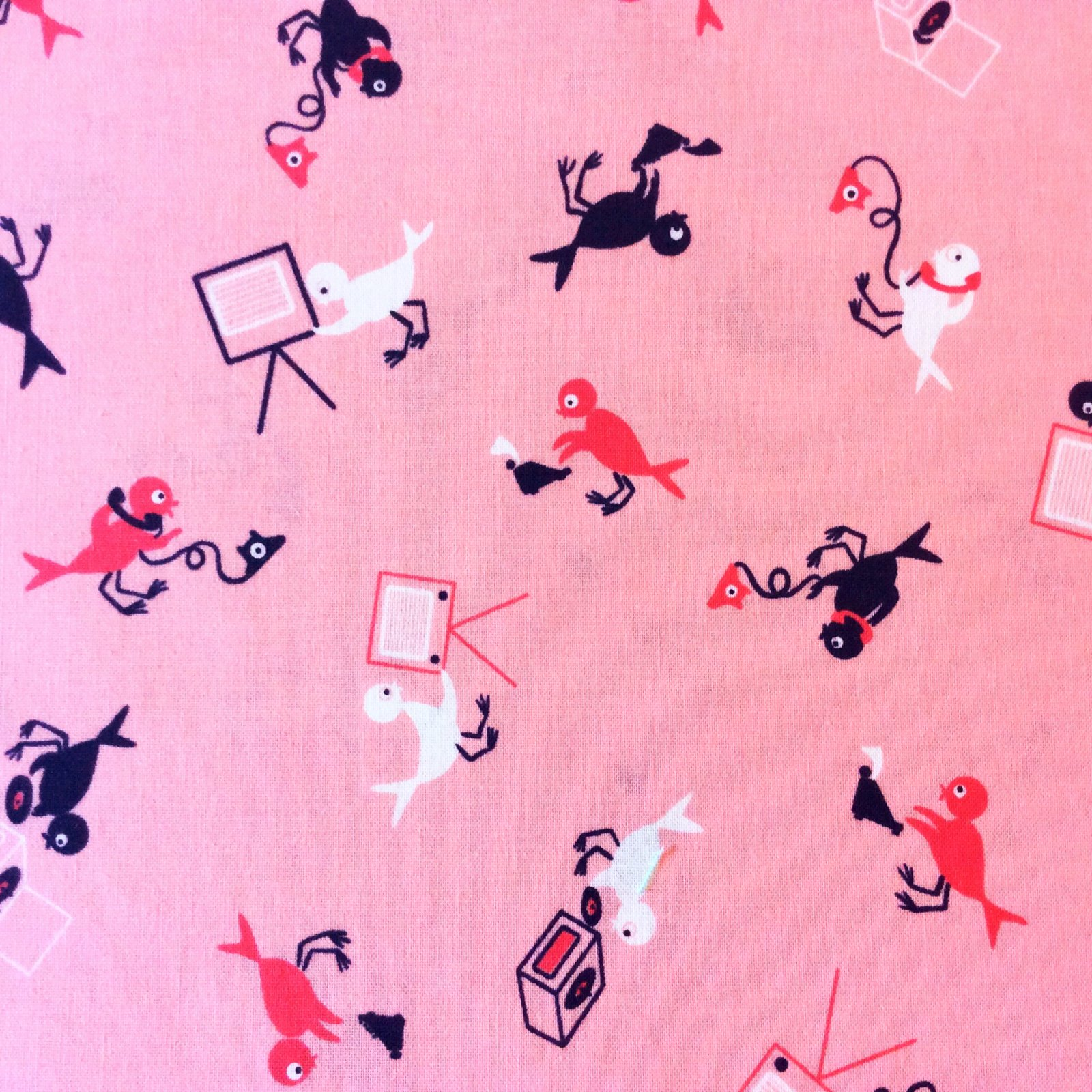 Cotton + Steel Retro Bird Vintage Phone TV Birdie Cotton Quilt Fabric CTN68