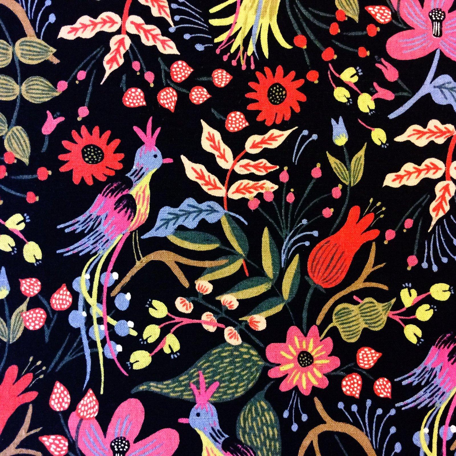 Cotton + Steel Les Fleurs Rifle Paper Folk Birds Black Floral Flowers Vibrant Cotton Canvas Quilt Fabric CTN81