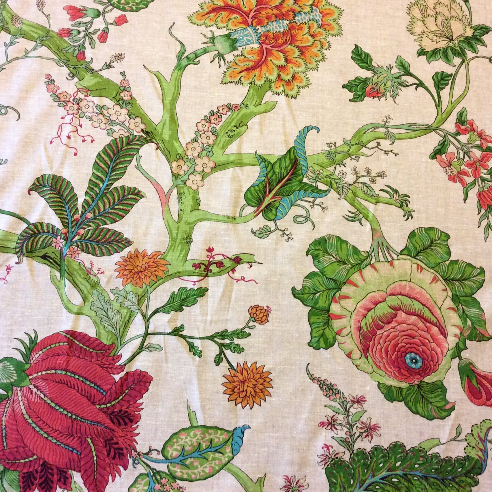 CV104 Retro Linen Floral Tropical Garden Upholstery Drapery Home Decor  Fabric