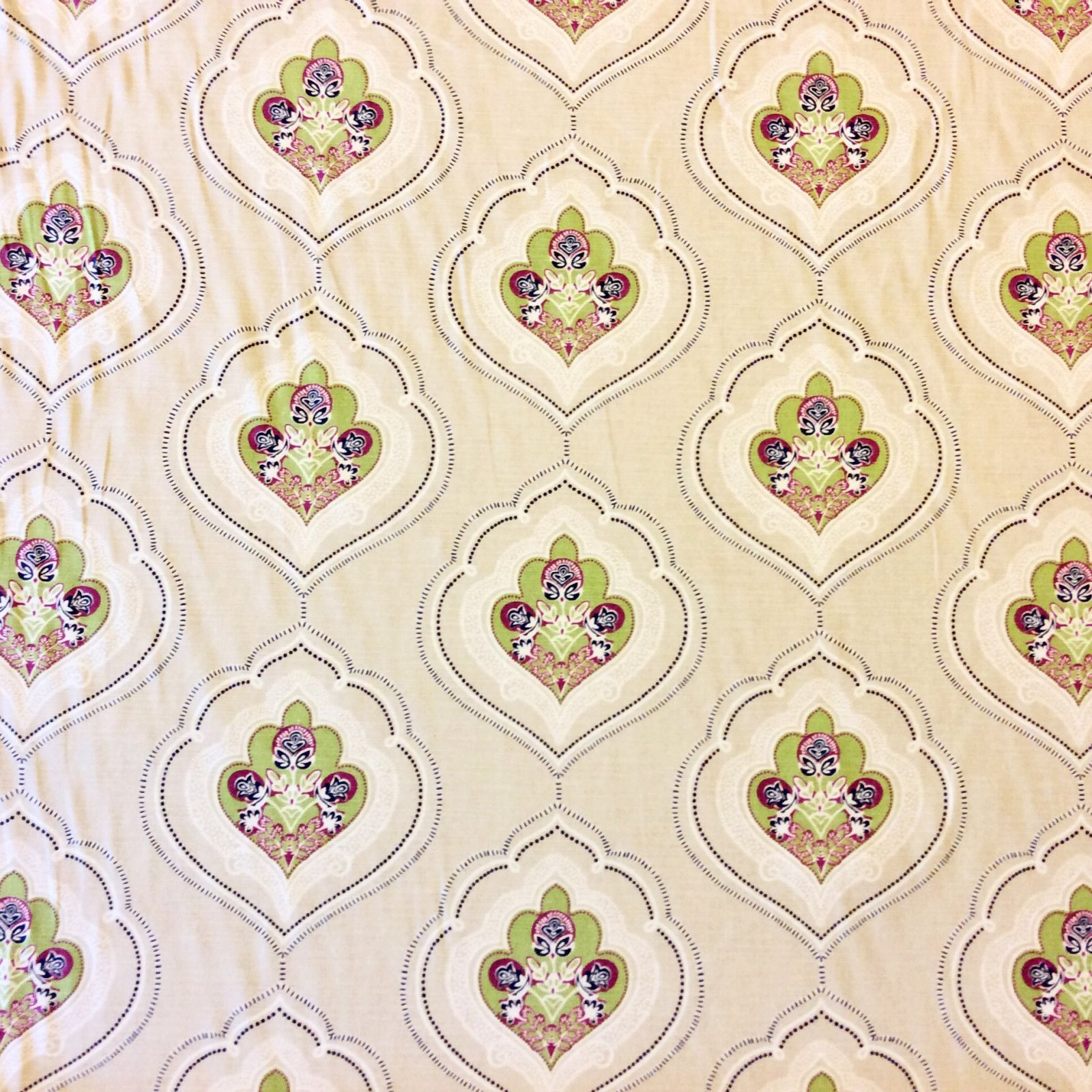 Moroccan Medallion Cream Background Blue Green Heavy Weight Cotton Fabric UPH Drapery Fabric  D105 CLOSEOUT