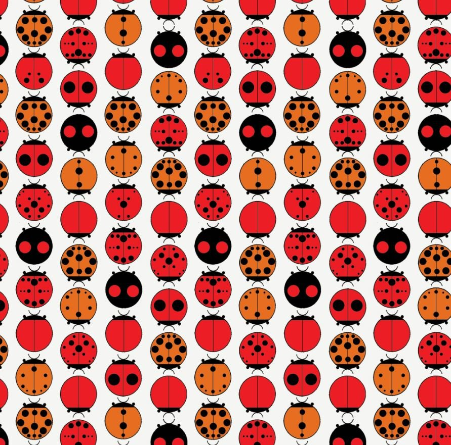 Charley Harper Ladybug Mid Century Modern Charles Harper Certified Organic Cotton Fabric Quilt Fabric CHB91