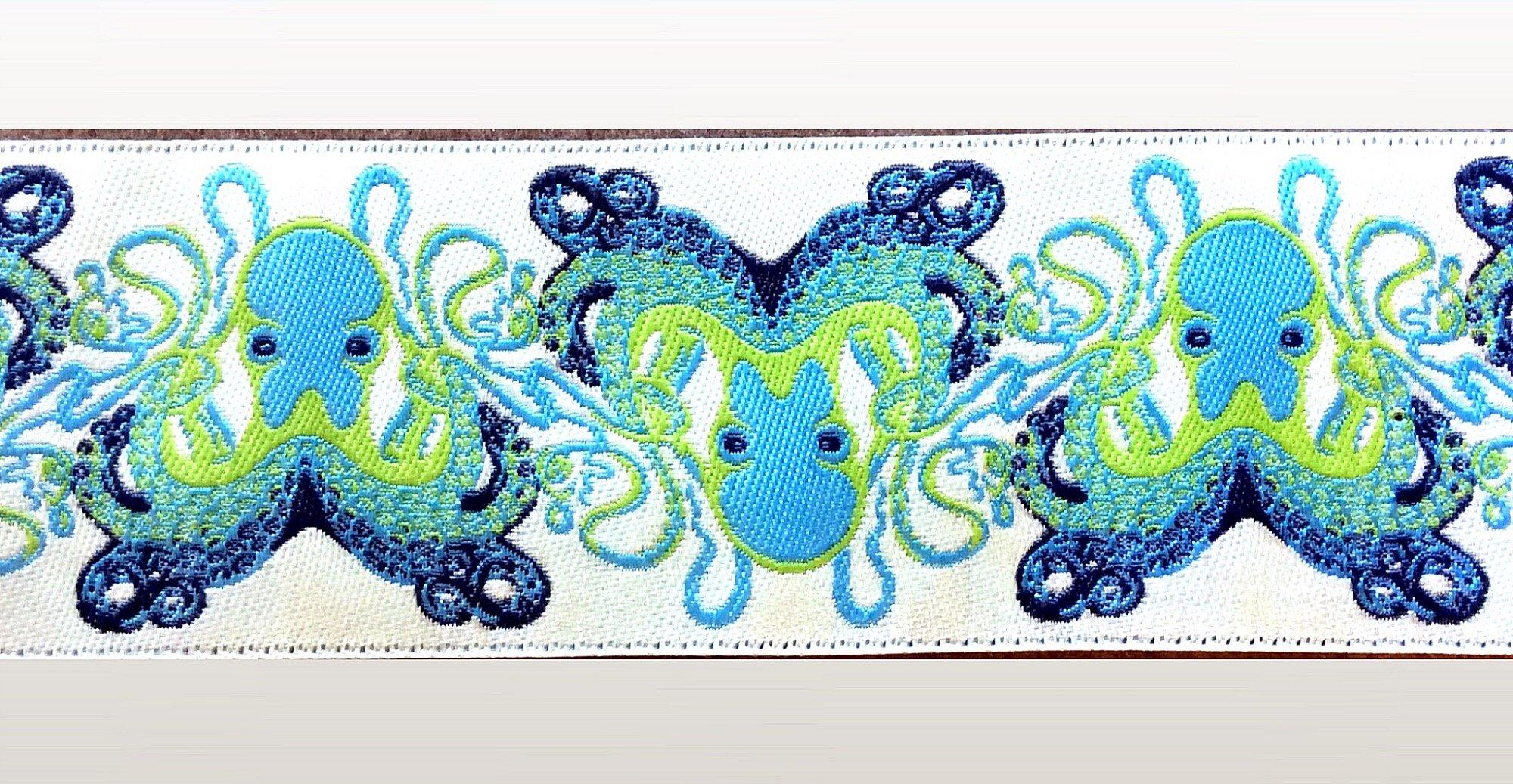 Tula Pink Aqua Octopus Jacquard Ribbon Trim TRIM013