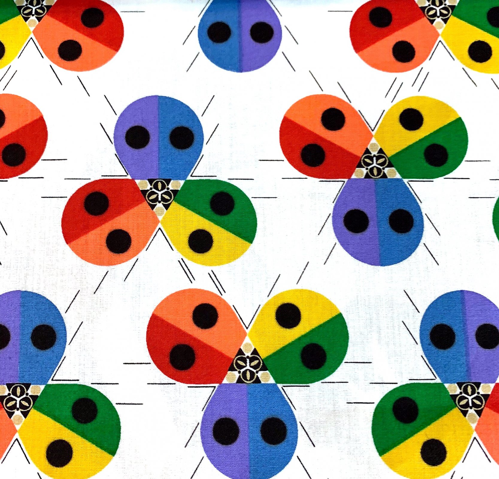 Charley Harper Ladybug Rainbow Mid Century Modern Charles Harper Certified Organic Cotton Fabric Quilt Fabric CHB87