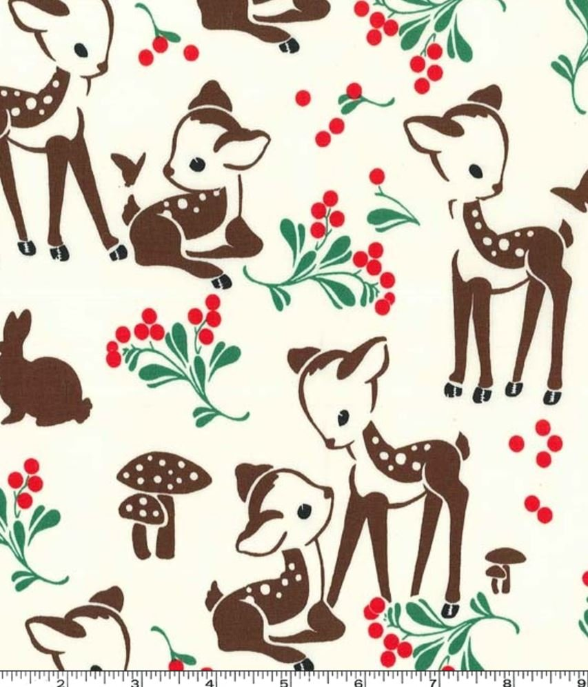 Deer Fawn Berries Forest Cute Mushroom Bambi Bunny Cotton Quilt Fabric MM113