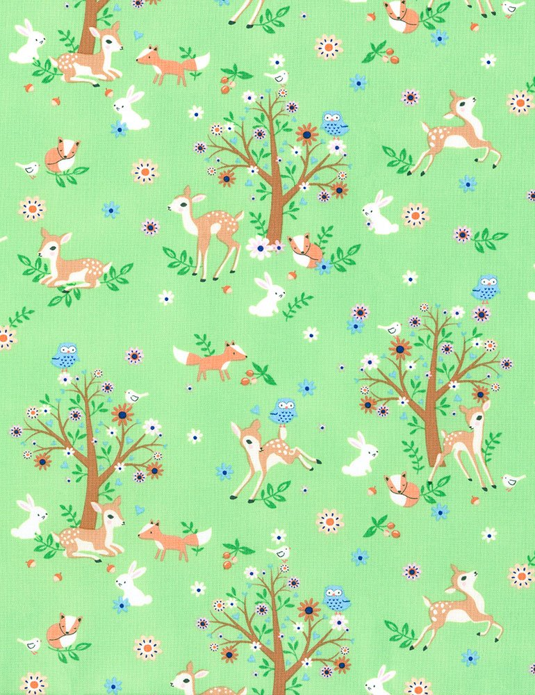 Retro Scandinavian Baby Deer Bunny Rabbits Fox Forest Frolic Cotton Quilt Fabric TT116