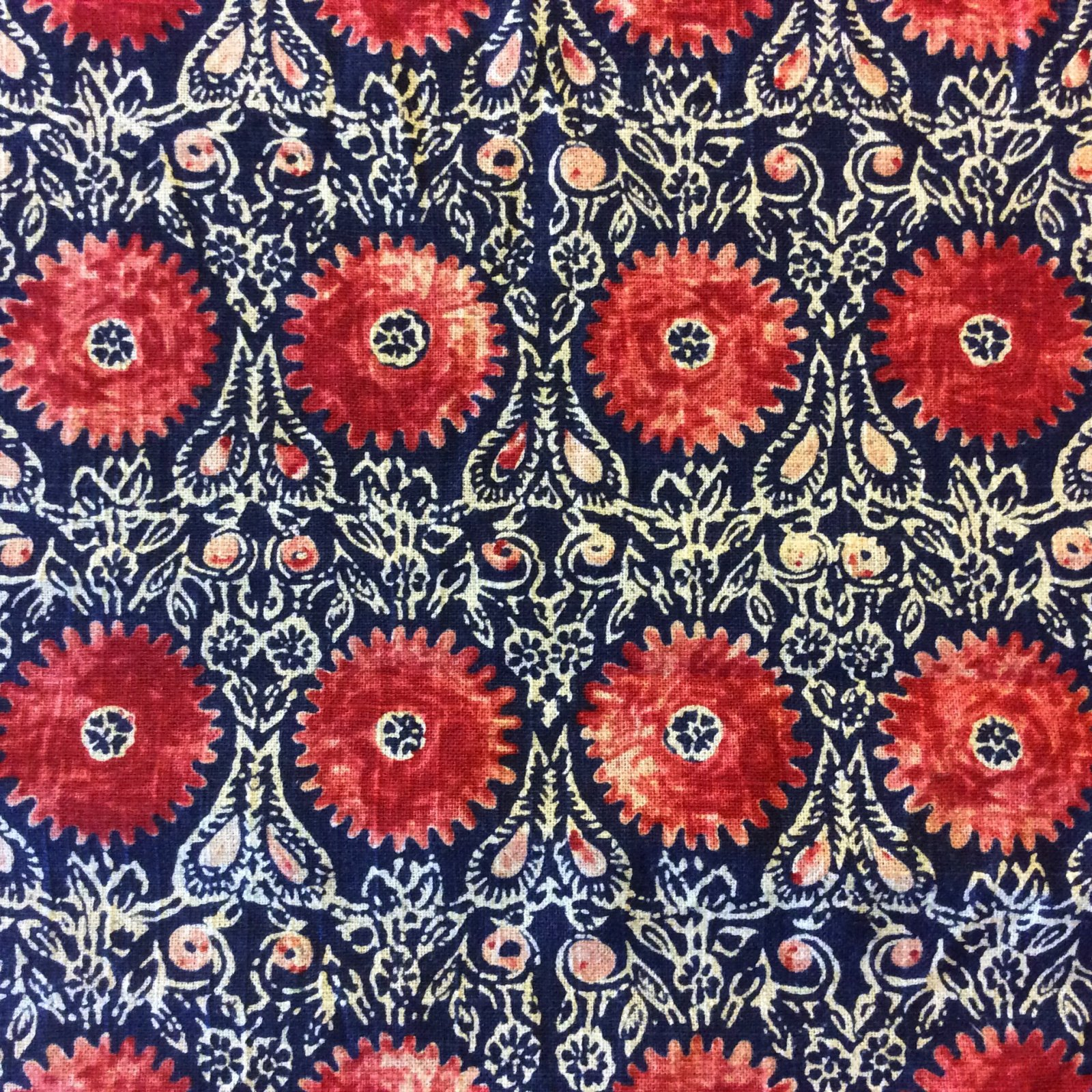 DI08 Navy Blue & Red Suzani Medallion Geometric Geo Drapery Home Decor Fabric