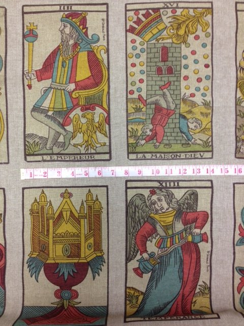 Tarot Cards Hand Screen Print Linen Fabric Heavy Weight Drapery Upholstery DLSO505