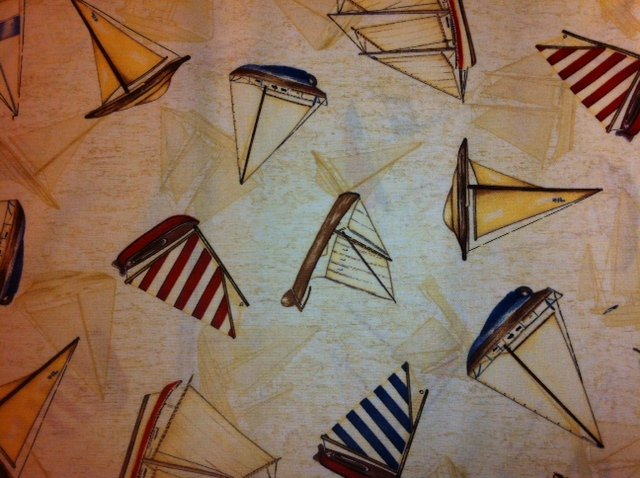 N196 Sailboat Yacht Sailing Boat Quilt Cotton Fabric