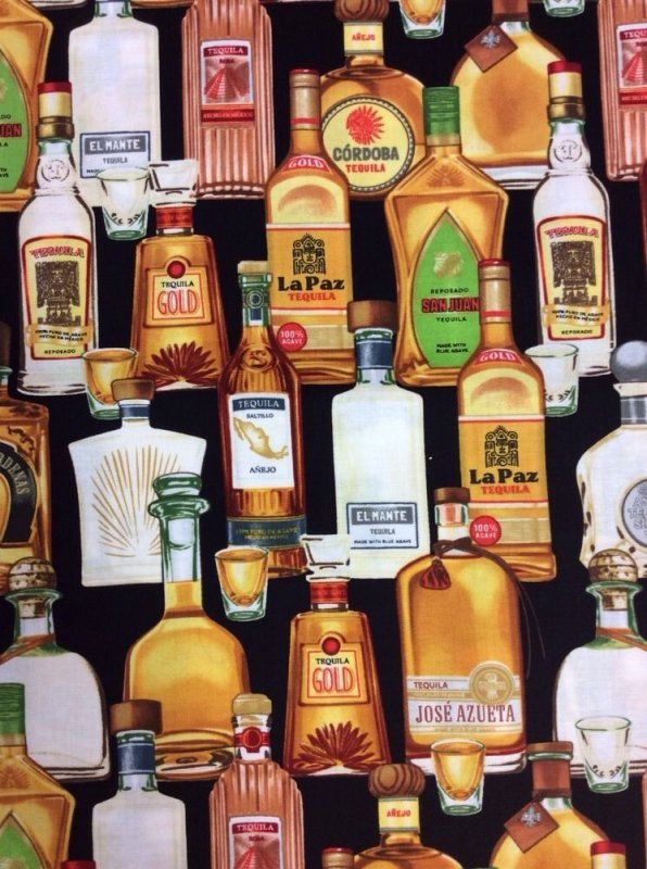 FAT QUARTER! Tequila Jose Azueta Alcohol Bottles Mezcal Drinks Cotton Fabric Quilt Fabric