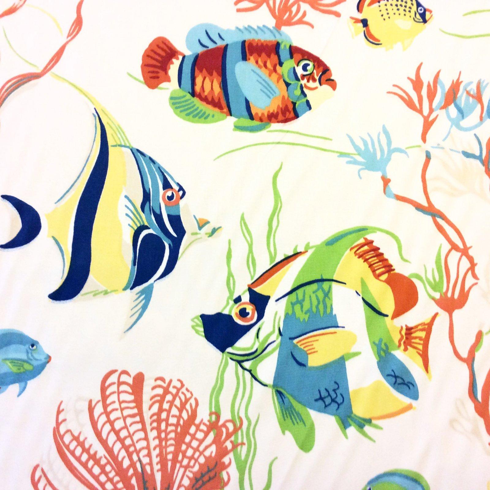 Sea Life Delmar Ocean Shells Lobster Crab Lionfish Shrimp Fish Heavy Weight Cotton Fabric Drapery Fabric DSO305