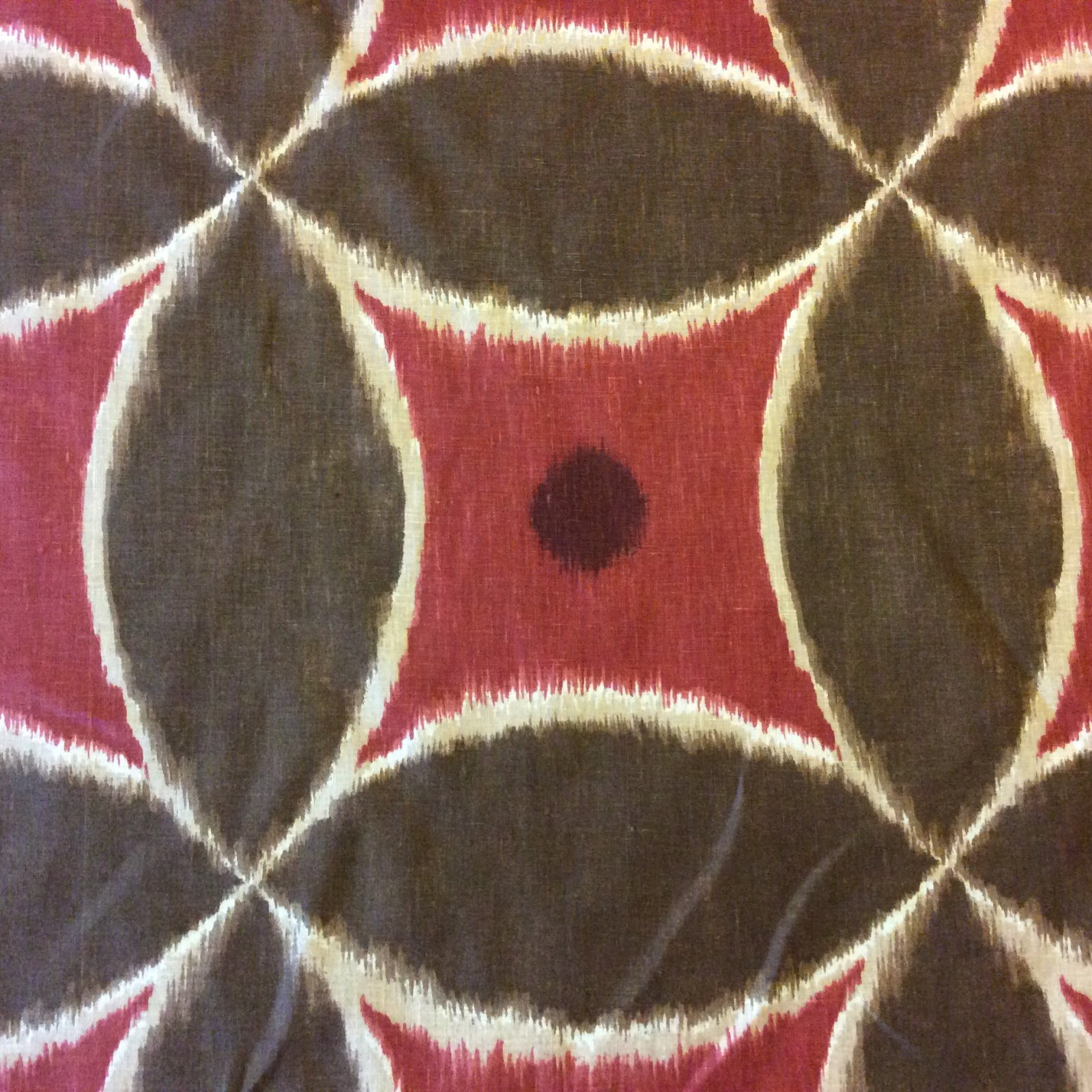 Ikat Exotic Tribal Modern Burgundy and Brown  Pattern Shapes and Objects Heavy Cotton Fabric Drapery Fabric DSO309