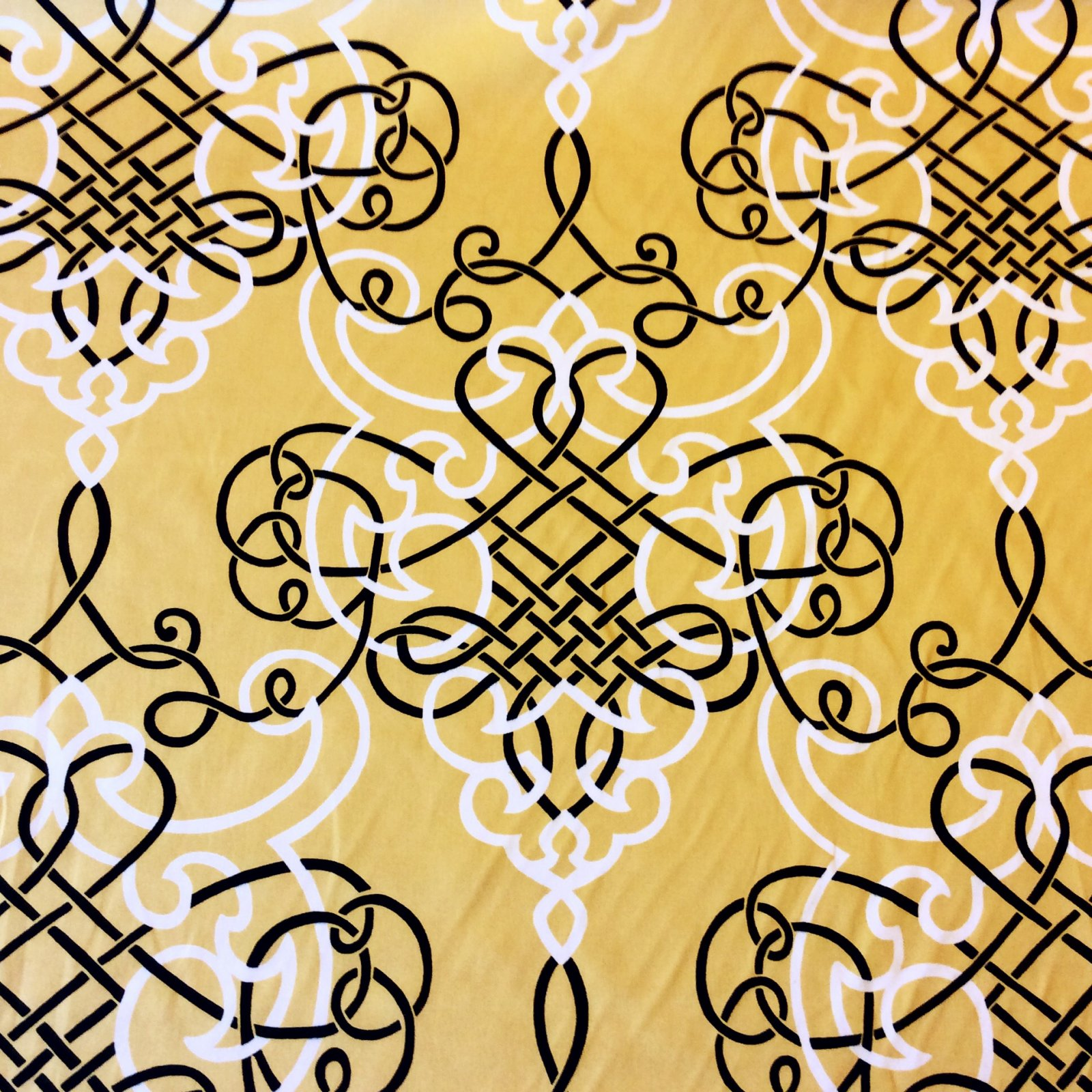 Geometric Scandinavian Modern Black and White Interlocking Designs Mustard background Della Pattern Heavy Weight Cotton Fabric Drapery Fabric DSO313