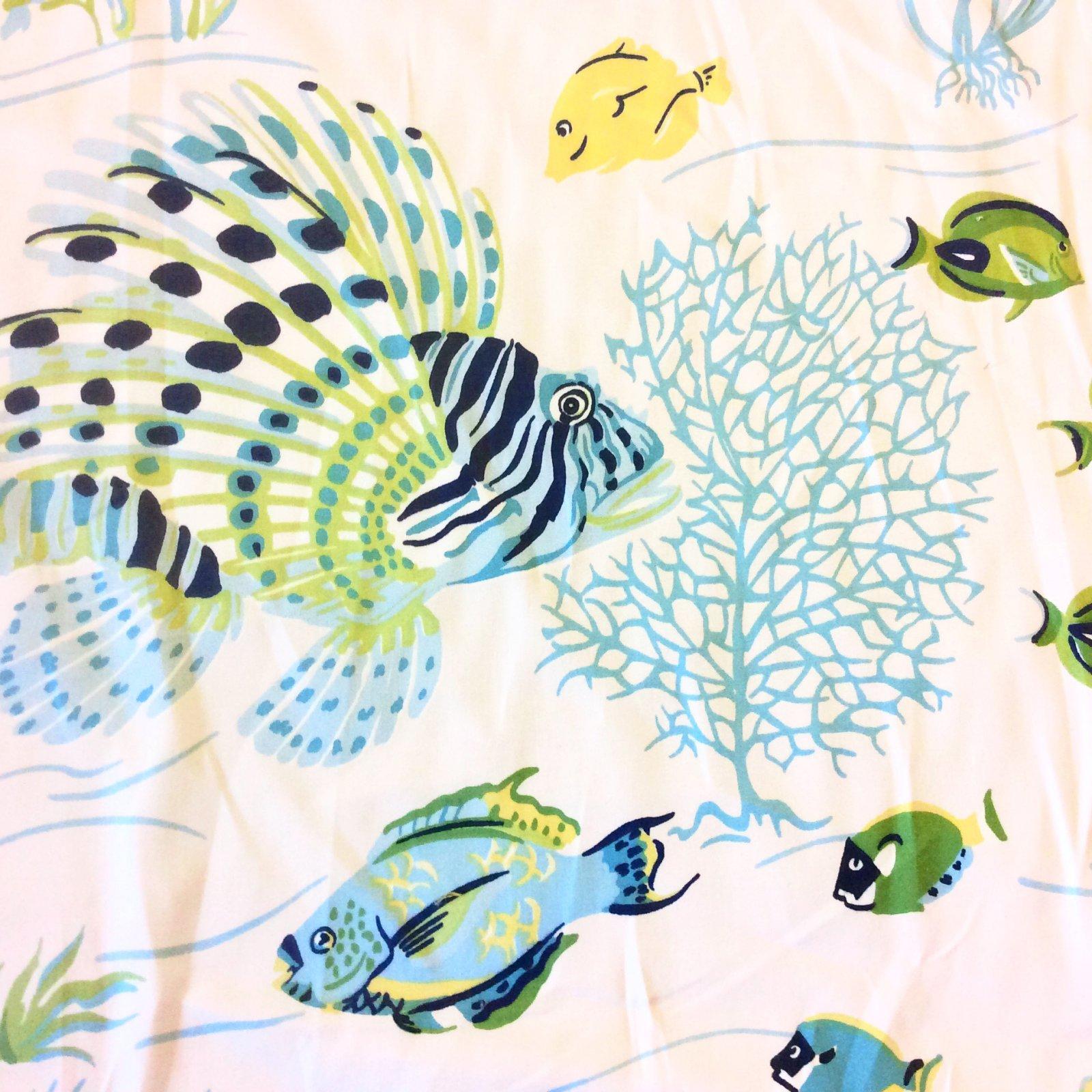 Sea Life Delmar Ocean Shells Lobster Crab Lionfish Shrimp Fish Heavy Weight Cotton Fabric Drapery Fabric DSO315
