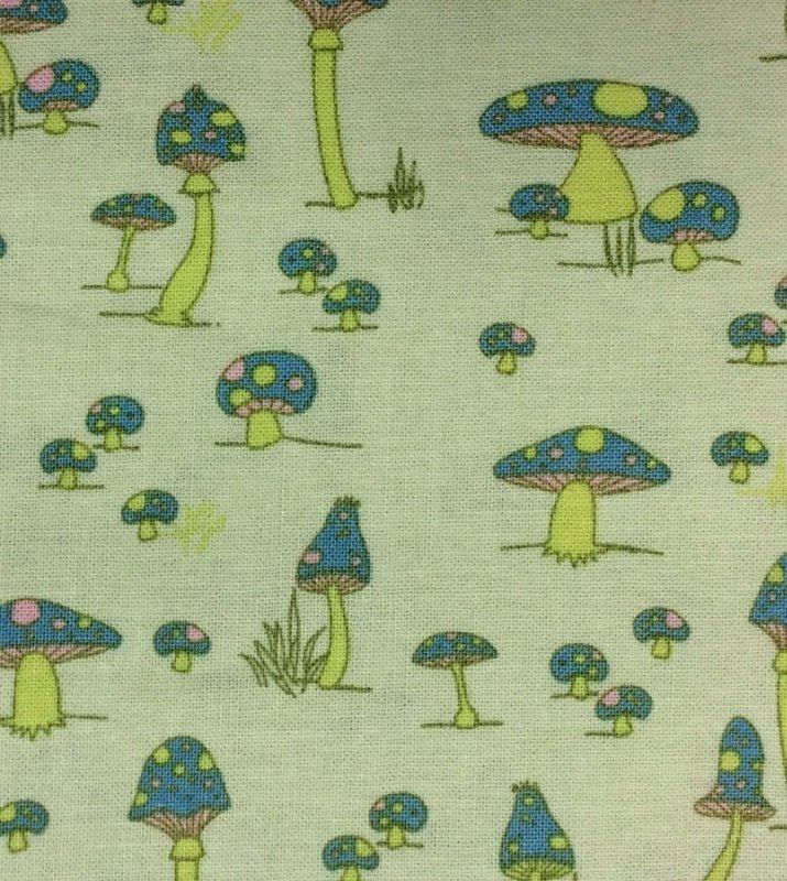 FAT QUARTER! RPFE15 Retro Lime Multi Color Mushroom Quilt Cotton Fabric