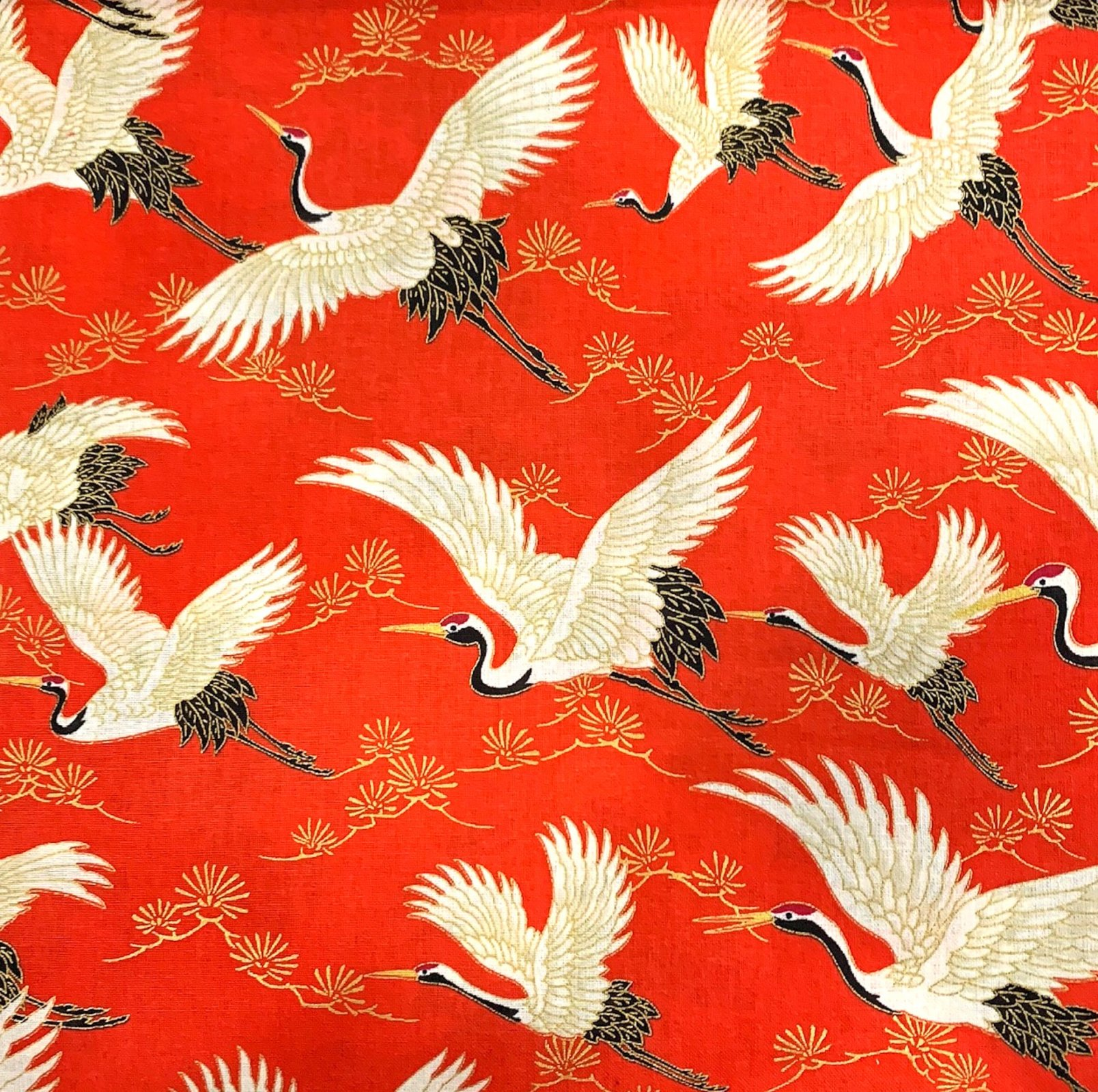 COMING SOON! Japanese Asian Cranes Water Birds Obi Print Cotton Quilt Fabric