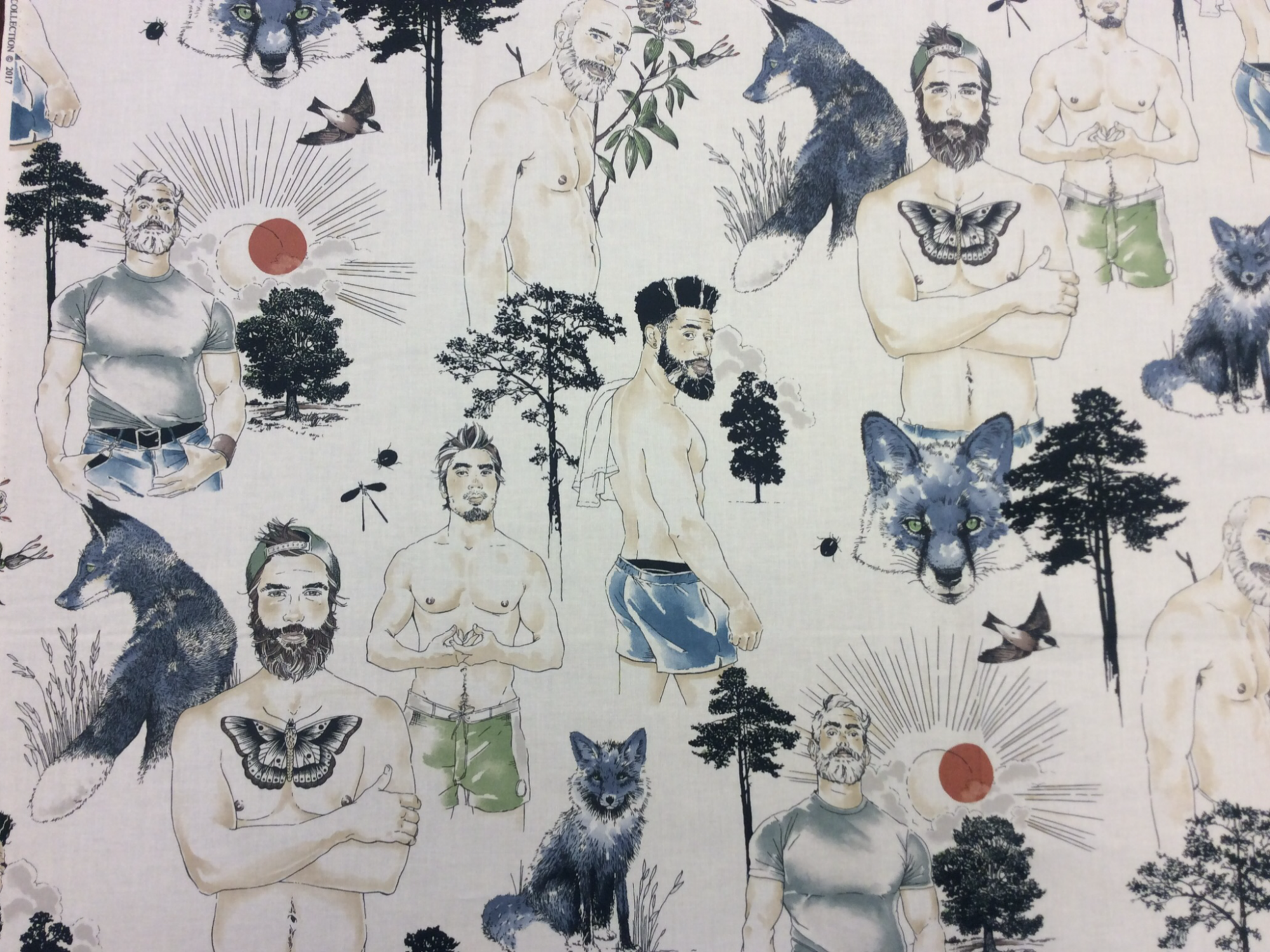 Sexy Pin Up Guys Retro Silver Foxes Hot Men Alexander Henry Cotton Quilt Fabric AH279