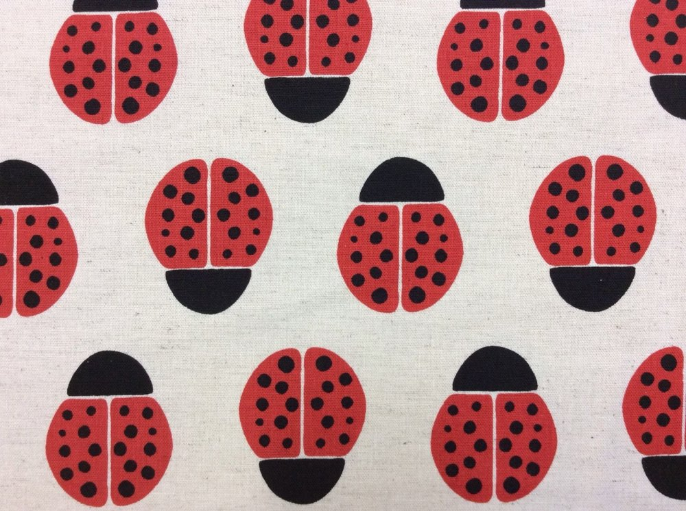 Ladybugs Bugs Red Polkadots Cute Stamp Neutral Kokka Canvas Cotton Fabric EK11