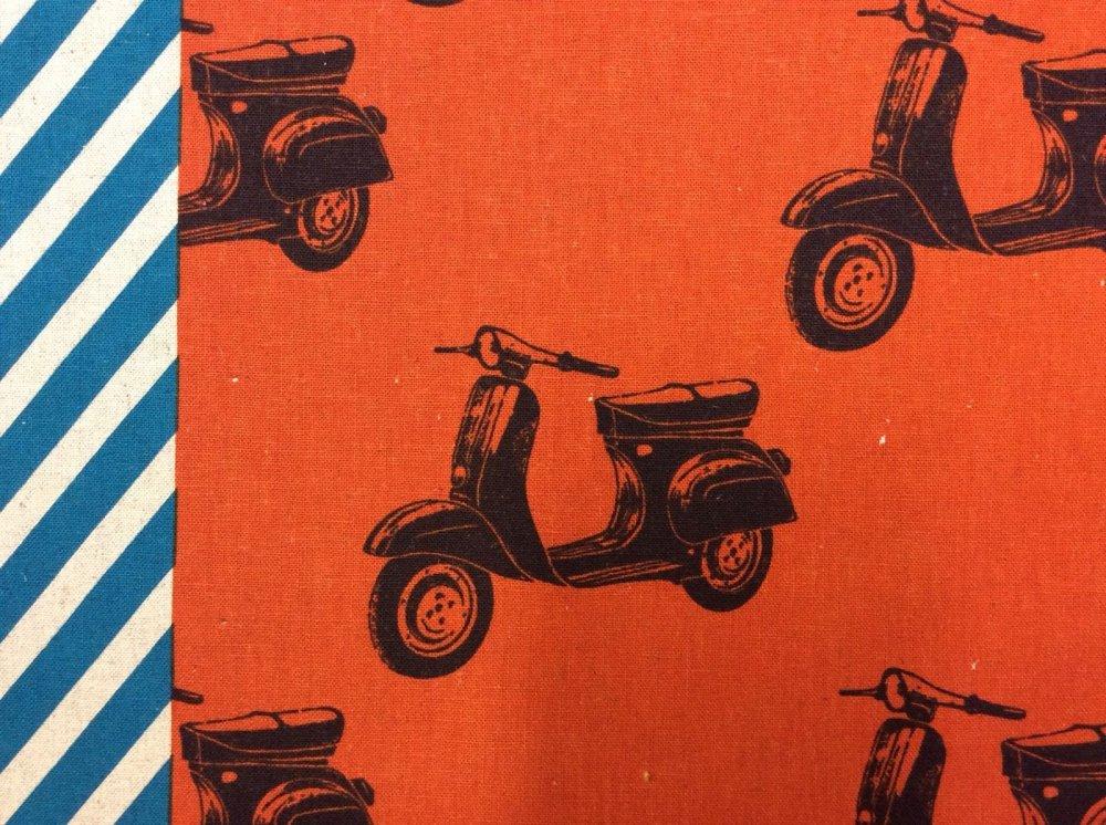 Scooters Retro Burnt Orange Blue Stripes Echino Canvas Cotton Fabric EK13