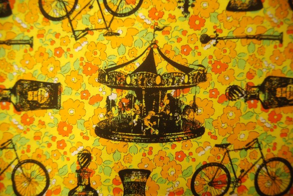 EK18 Vintage Orange Floral Bicycle Perfume Cello Kokka Canvas Cotton Fabric