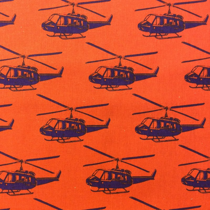 Helicopters Echino Kokka Modern Graphic Canvas Purple Choppers Cotton Canvas Fabric EK23