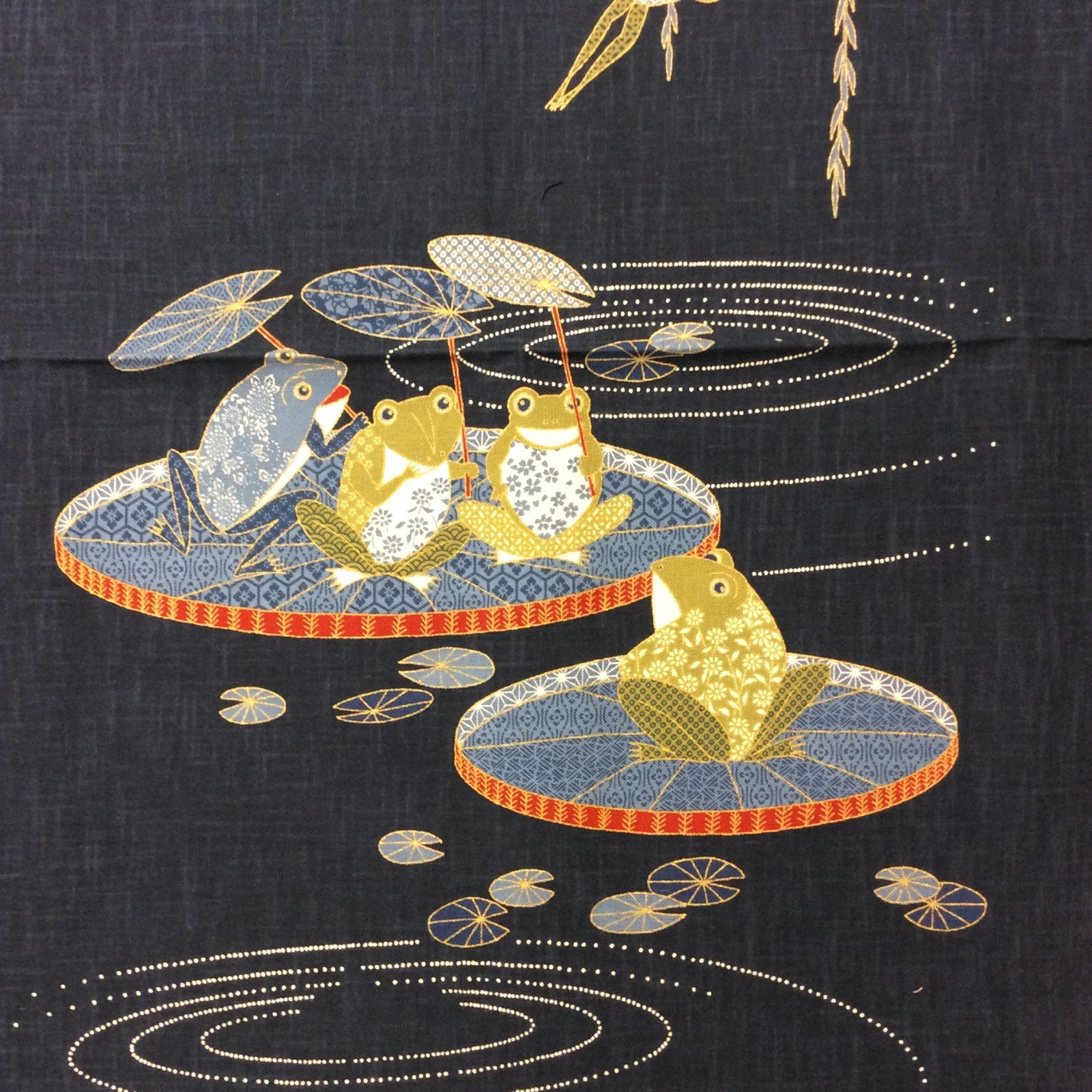 EK37 Frogs Pond Lilypads Navy Blue Weeping Willow Canvas Cotton Fabric Panel