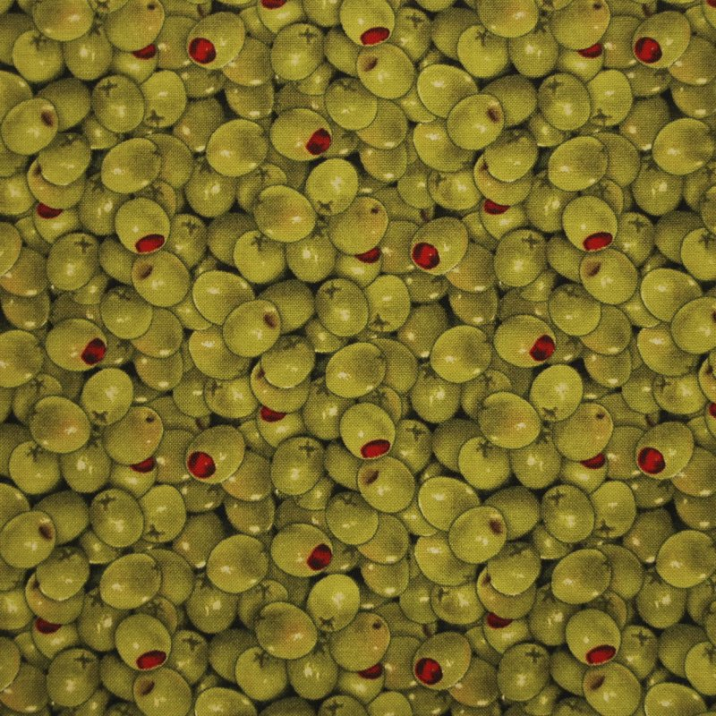FAT QUARTER! RPFES04 Olives Italian Cooking Appetizer Food Cocktail Quilting Cotton Quilt Fabric