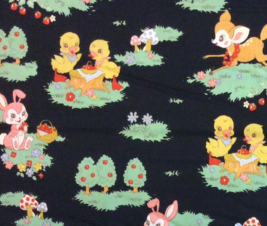 FF27 Echino Kokka NOS Retro Cute Deer Ducks Woodland Cotton Quilting Fabric