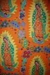 LAST PIECE! RARE OUT OF PRINT Los Sanctos by Terrie Mangat PCFF71-1 Light Orange Our Lady of Guadalupe MexicO Mexican Religious Flowers Cotton Fabric Quilt Fabric