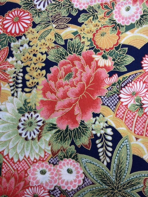 Rare! Out of Print! Asian Poppy Floral Japanese Spring Cotton Fabric Quilt Fabric KB03
