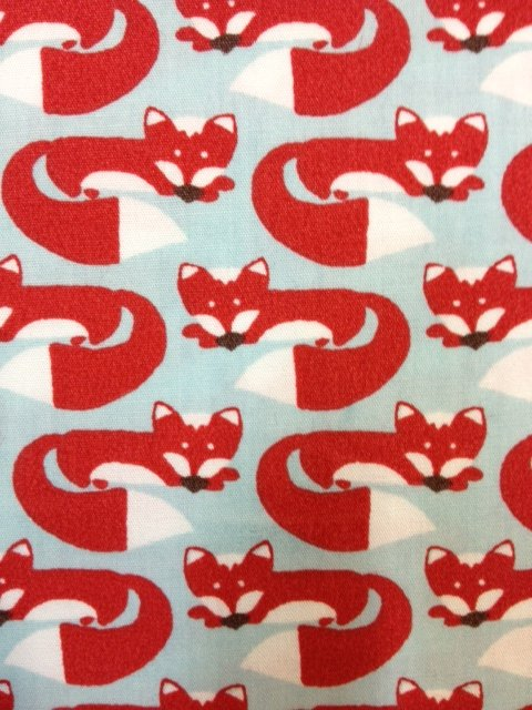 Fox Hollow Cute Red Foxes Woodland Critter Animal Sky Blue Organic Cotton Fabric CR269