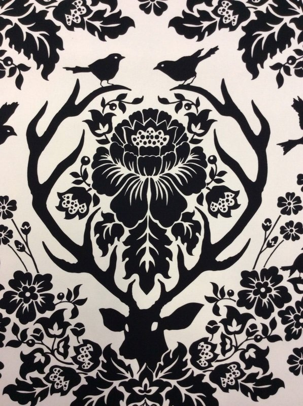 Deer Antlers Floral Birds Damask Print Scandinavian Silhouette Canvas Cotton Fabric Home Dec Fabric FS10 WE134